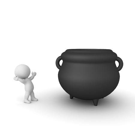 3D Character looking in awe at big cauldron. 3D Rendering isolated on white.