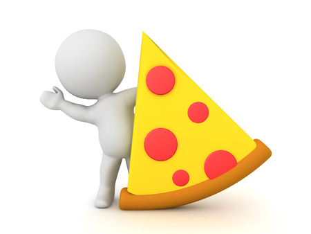 3D Character waving from behind pizza slice. 3D Rendering isolated on white.