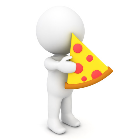 3D Character holding pizza slice. 3D Rendering isolated on white.