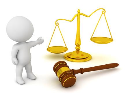 Personnage 3D montrant le marteau et la balance de la justice. rendu 3D isolé sur blanc. Banque d'images