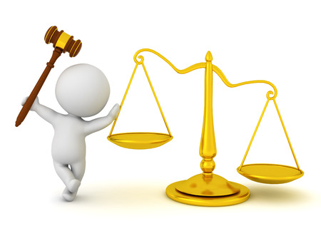 3D Character leaning on scales of justice and holding gavel. 3D Rendering isolated on white.