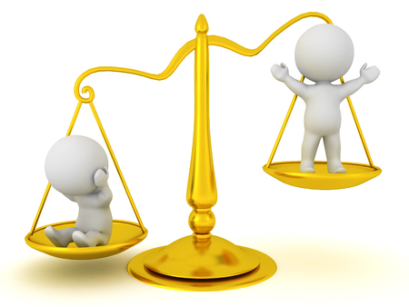 3D Characters standing on the scales of justice. One of them is weighed down by sins, and the other is lifted up by virtue. 3D Rendering isolated on white.