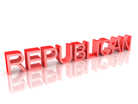 Text saying Republican. 3D Rendering isolated on white.