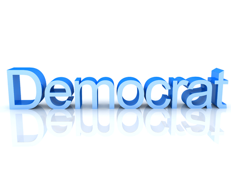 3D Rendering of blue text saying democrat. 3D Rendering isolated on white.
