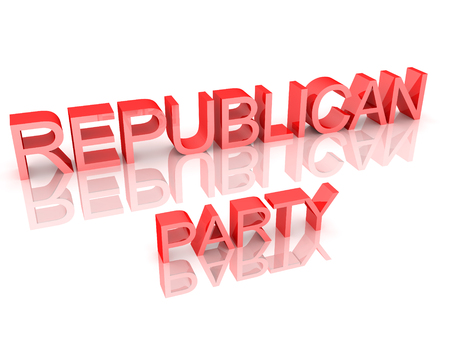 3D Rendering of text saying Republican Party. 3D Rendering isolated on white.
