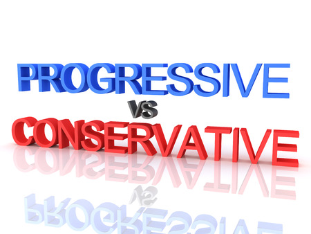 3D Rendering of Progressive vs Conservative text. 3D Rendering isolated on white. Stock fotó