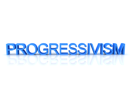 3D Rendering of text saying progressivism. 3D Rendering isolated on white.