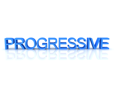 3D Rendering of blue text saying progressive. 3D Rendering isolated on white. Stok Fotoğraf