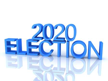 3D Rendering of text saying 2020 election. 3D Rendering isolated on white. Stock Photo