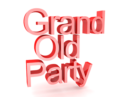 3D Rendering of text saying grand old party. 3D Rendering isolated on white. Stock Photo