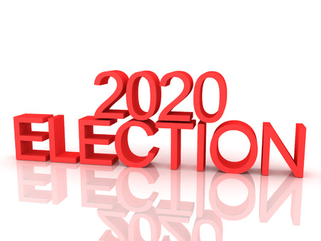 3D Rendering of red text saying 2020 election. 3D Rendering isolated on white. Stock Photo