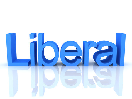2236 3D Rendering of blue text saying liberal. 3D Rendering isolated on white.