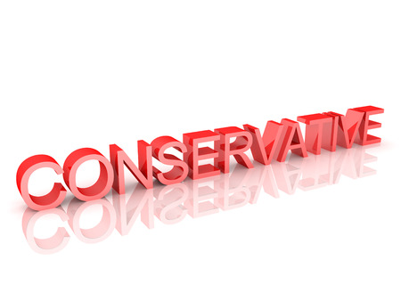 3D Rendering of text saying Conservative. 3D Rendering isolated on white.