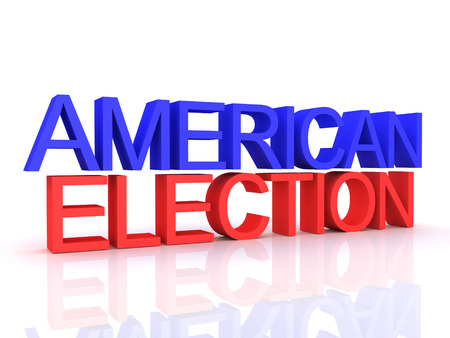 3D Rendering of american election text. 3D Rendering isolated on white.