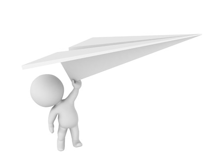3D Character flying away holding big paper plane. 3D Rendering isolated on white.
