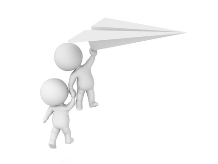 3D Characters flying away holding a paper plane. 3D Rendering isolated on white.