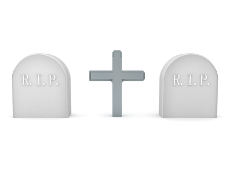 3D Rendering of two tombstones and a cross in the middle. 3D Rendering isolated on white.