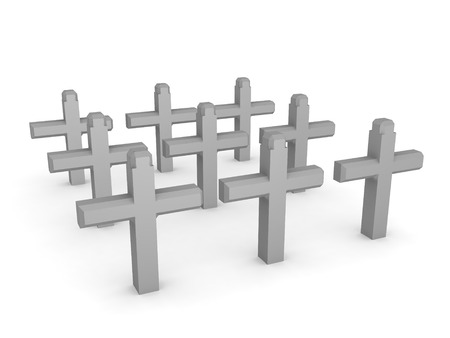 3D Rendering of graveyard with crosses. 3D Rendering isolated on white. Фото со стока
