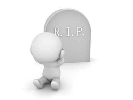 3D Character is sad in front of a gravestone. 3D Rendering isolated on white.