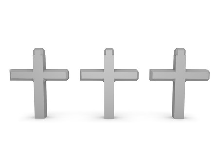 3D Rendering of three crosses. 3D Rendering isolated on white.
