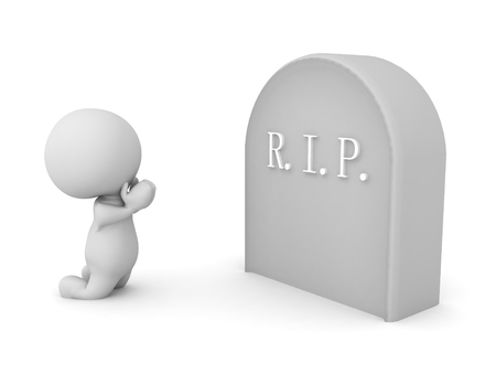 3D Character praying on his knees in front of gravestone. 3D Rendering isolated on white. Stock Photo