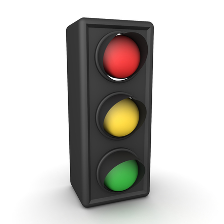 3D Rendering of traffic stop light. 3D Rendering isolated on white. Banco de Imagens