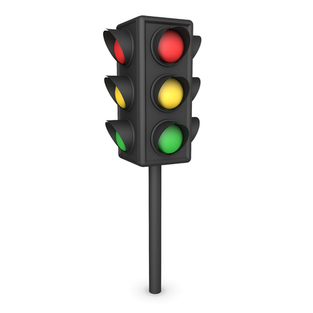 3D Rendering of intersection traffic stop light. 3D Rendering isolated on white. Stock Photo