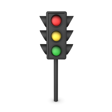 3D Rendering of traffic stop light. 3D Rendering isolated on white. Stock Photo