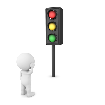 3D Character waiting for traffic light to change. 3D Rendering isolated on white.