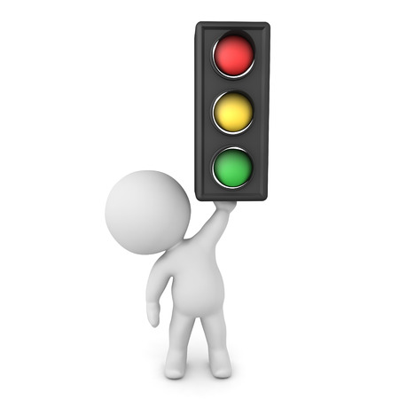 3D Character holding up traffic light. 3D Rendering isolated on white.