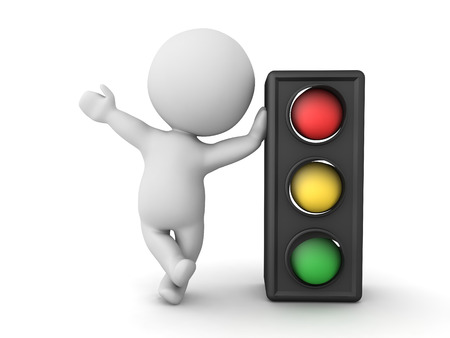 3D Character leaning on traffic light. 3D Rendering isolated on white.
