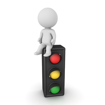 3D Character sitting on traffic light. 3D Rendering isolated on white.