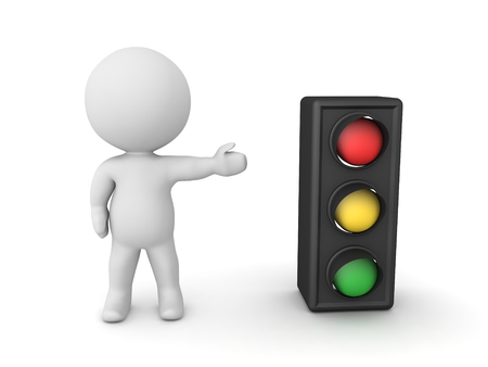 3D Character showing traffic light. 3D Rendering isolated on white.