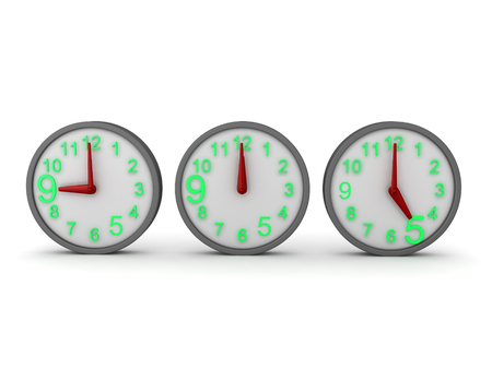 3D Rendering of three clocks, showing nine, twleve and six. 3D Rendering isolated on white.