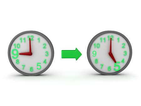 3D Rendering of two clocks linked by green arrow - nine to five routine. 3D Rendering isolated on white.