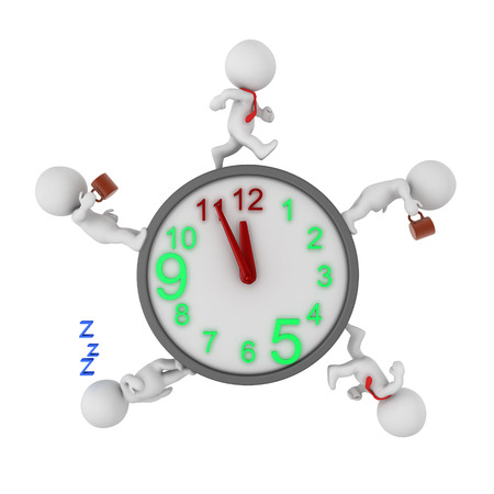 3D Rendering showing the day of an office worker. 3D Rendering isolated on white.