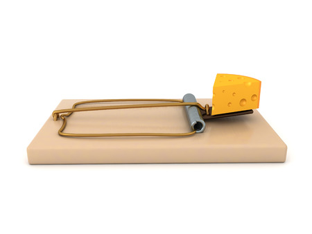 3D Rendering of classic mousetrap with a piece of cheese as lure. 3D Rendering isolated on white. Stok Fotoğraf