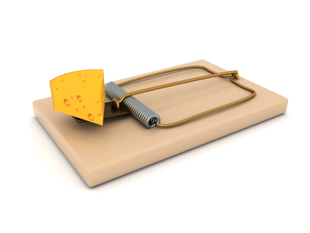 3D Rendering of mousetrap with cheese as lure. 3D Rendering isolated on white.