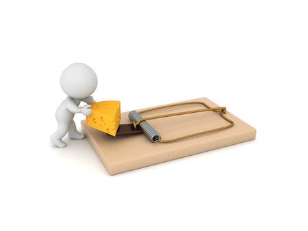 Personnage 3D prenant un morceau de fromage dans une souricière. rendu 3D isolé sur blanc. Banque d'images