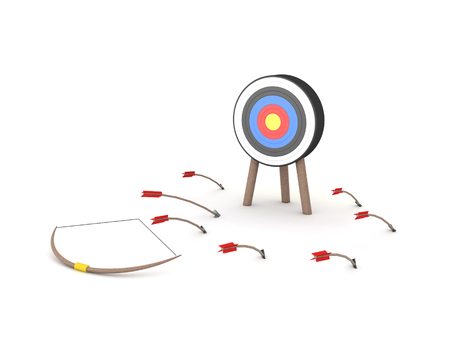 3D Rendering of bow and many arrow which have missed their target. 3D Rendering isolated on white.