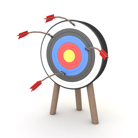 3D Rendering of many arrows on target but none have hit the middle. 3D Rendering isolated on white.