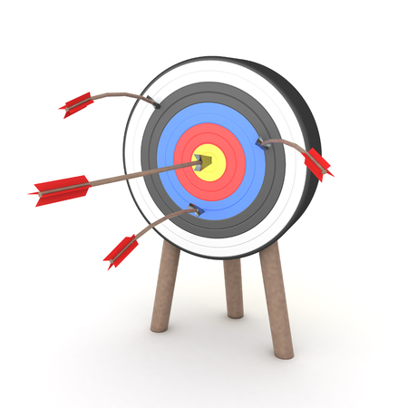 3D Rendering of many arrows stuck on target but only one hits the middle. 3D Rendering isolated on white.