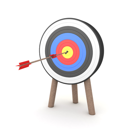 3D Rendering of two arrows hitting the middle of a target. 3D Rendering isolated on white.