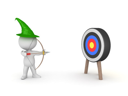 3D Robin Hood like character shooting arrow at target. 3D Rendering isolated on white.