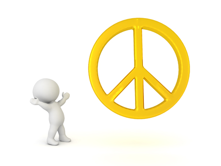 3D Character looking happy at golden peace logo. 3D Rendering isolated on white.