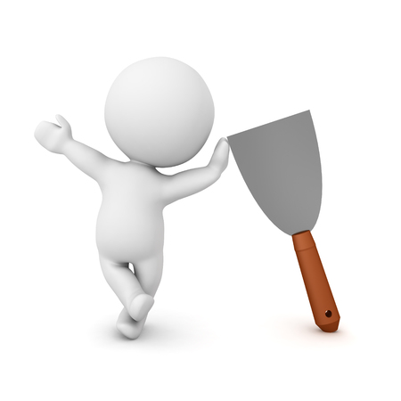 3D Character leaning on spackle putty knife. 3D Rendering isolated on white. Фото со стока