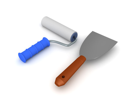 3D Rendering of paint roller and paint scraper. 3D Rendering isolated on white. Фото со стока - 124543433