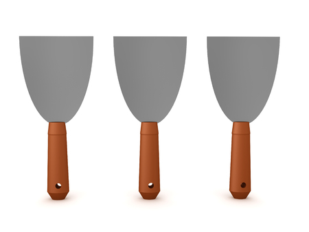 3D Rendering of three putty knives. 3D Rendering isolated on white.