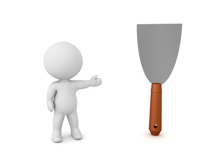3D Character showing putty knife. 3D Rendering isolated on white. Фото со стока - 124543436