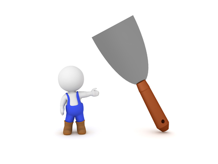 3D Painter showing paint scraper. 3D Rendering isolated on white.